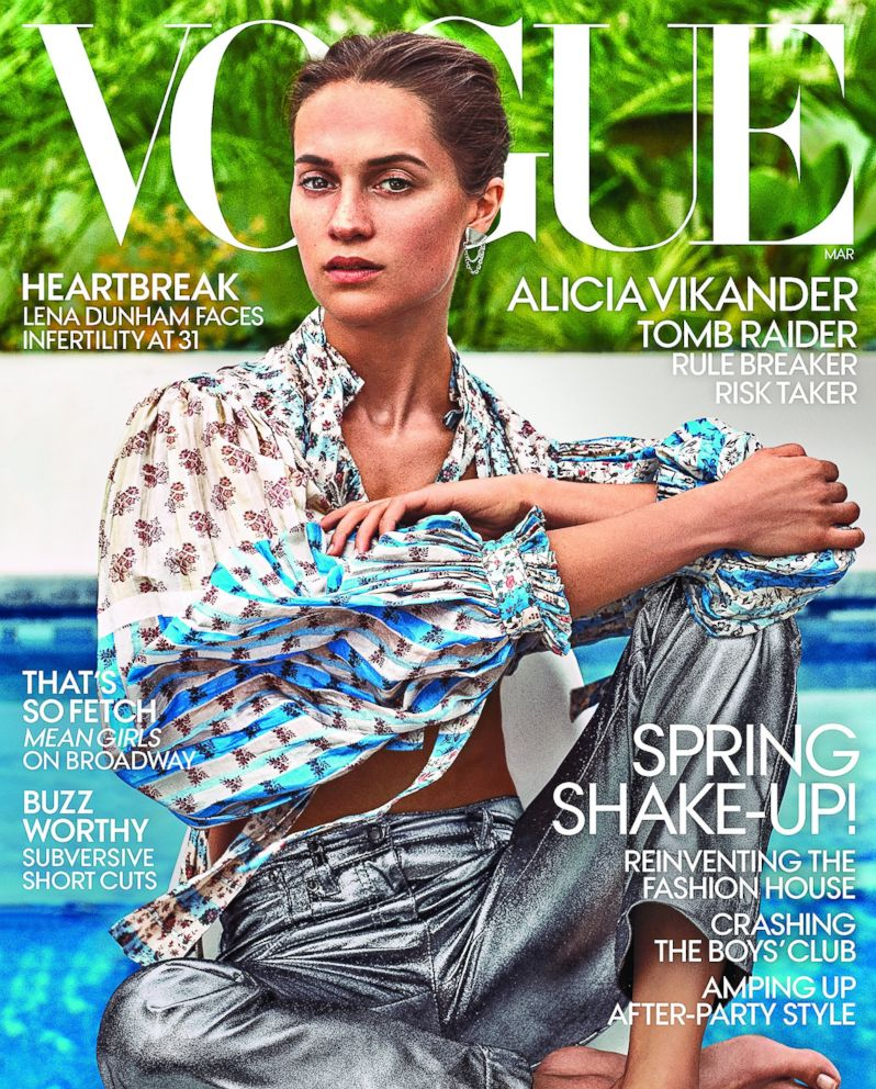 PHOTO: Alicia Vikander is pictured on the cover of the March 2018 cover of Vogue magazine.