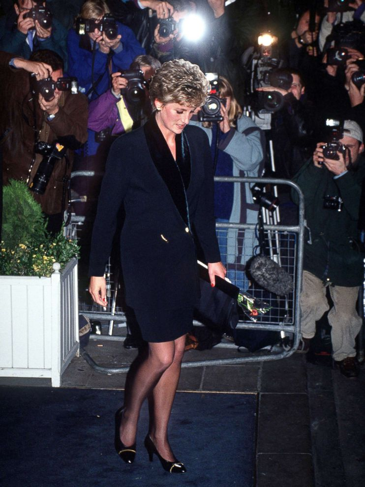 PHOTO: Princess Diana leaves a press conference at the Hilton Hotel, London, at which she gave a speech resigning from her public duties, Dec. 3, 1993, wearing an outfit by Amanda Wakerley.