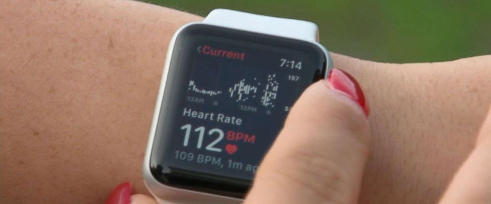 PHOTO: Deanna Recktenwald checks her apple watch after it recently sent her an alert that saved her life.