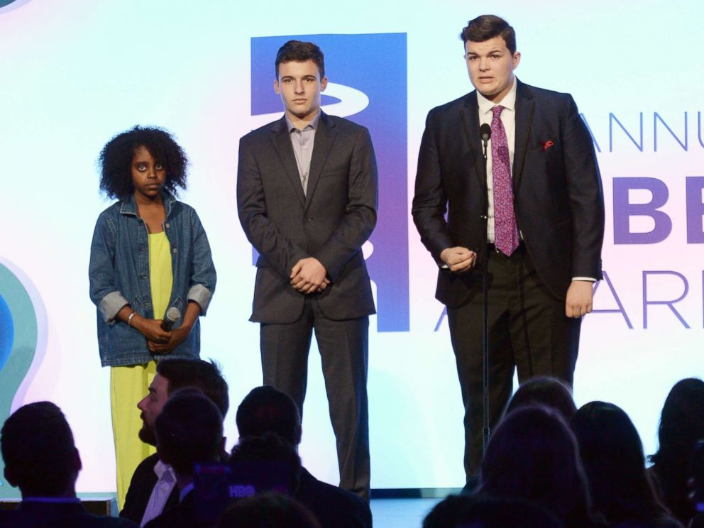 PHOTO: Naomi Wadler, Adam Alhanti and John Barnitt onstage at The 22nd Annual Webby Awards at Cipriani Wall Street on May 14, 2018 in New York.