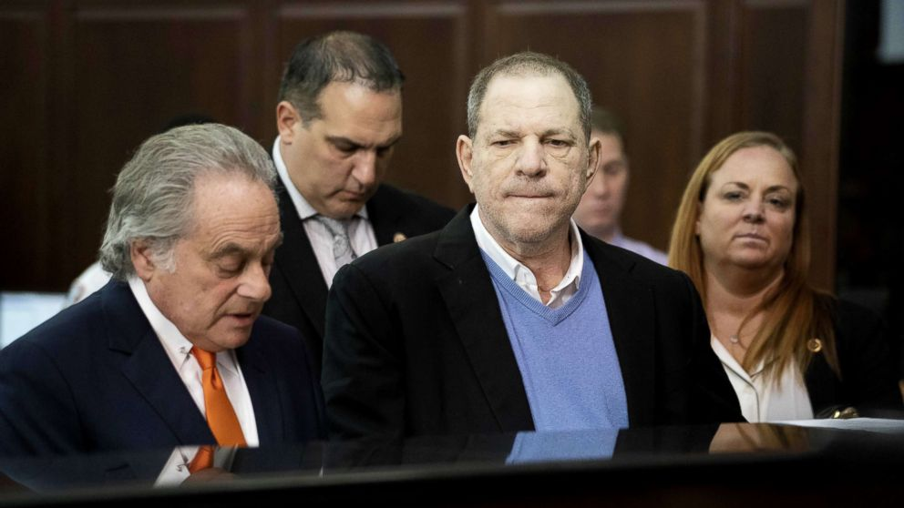 Harvey Weinstein along with his attorney Benjamin Brafman, left, appears at his arraignment in Manhattan Criminal Court, May 25, 2018.