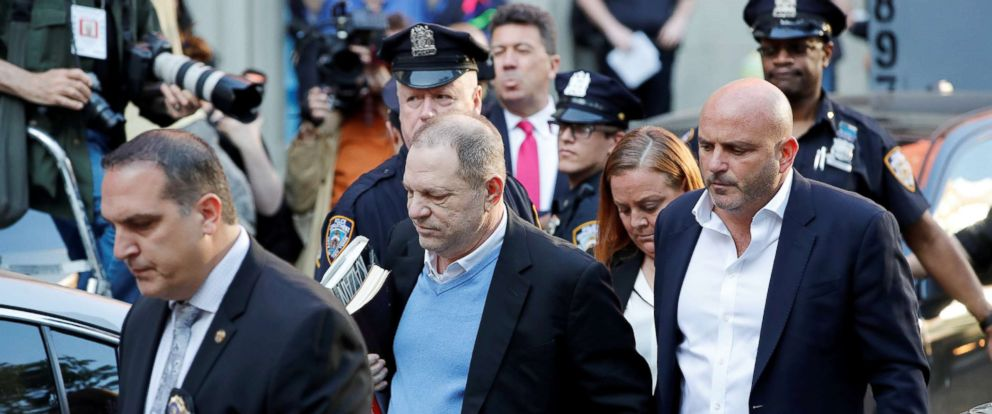 PHOTO: Film producer Harvey Weinstein arrives at the 1st Precinct in Manhattan in New York, May 25, 2018.