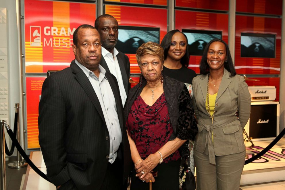 PHOTO: Michael Houston, Gary Houston, Cissy Houston, Pat Houston and Donna Houston at Exhibit Launch Event: Whitney! at The GRAMMY Museum, August 15, 2012, in Los Angeles, California.