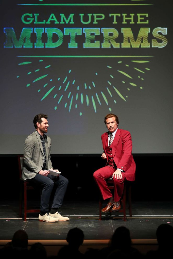 PHOTO: Billy Eichner and Ron Burgundy (Will Ferrell) Glam Up The Midterms at Oceanside High School Performing Arts Center, a non-partisan campaign to encourage and energize young people to vote, April 12, 2018, in Oceanside, Calif.