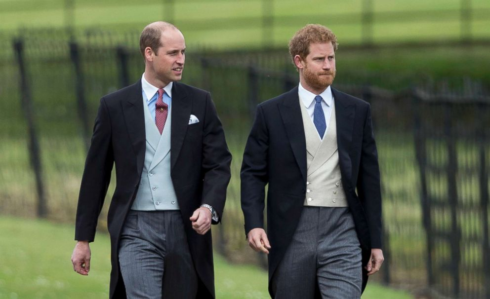 PHOTO: Prince Harry and Prince William, Duke of Cambridge attend the wedding of Pippa Middleton and James Matthews at St Marks Church on May 20, 2017 in Englefield Green, England.
