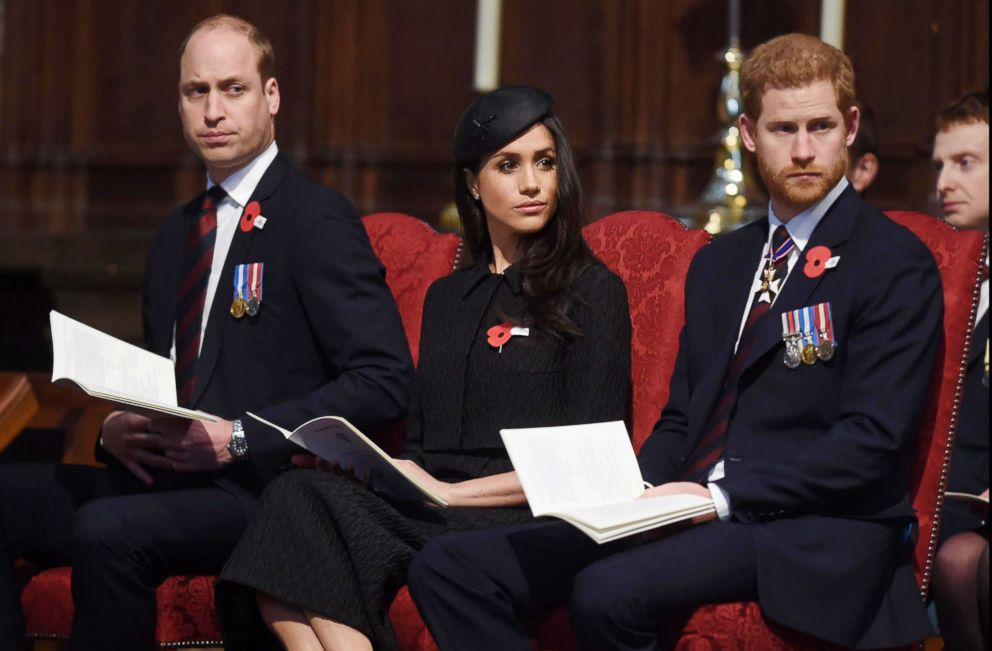 PHOTO: Prince William, The Duke of Cambridge joins Prince Harry and Meghan Markle at the ANZAC Day Service at Westminster Abbey, London.