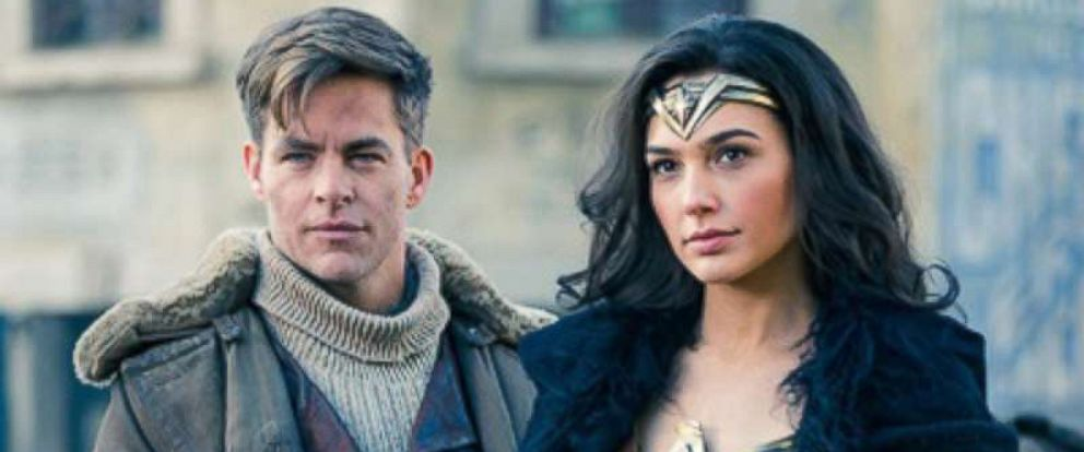 "PHOTO: Chris Pine and Gal Gadot in a scene from the action film ""Wonder Woman."""