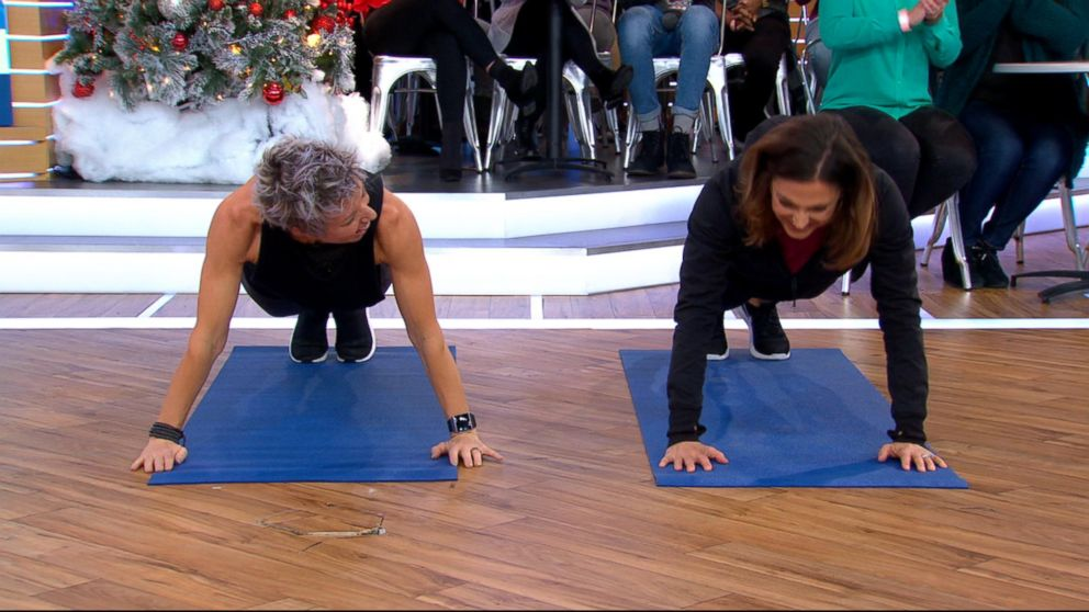 "Erin Oprea, Carrie Underwood's trainer, shares a post-Christmas workout to do at home on ""Good Morning America,"" Dec. 26, 2017."