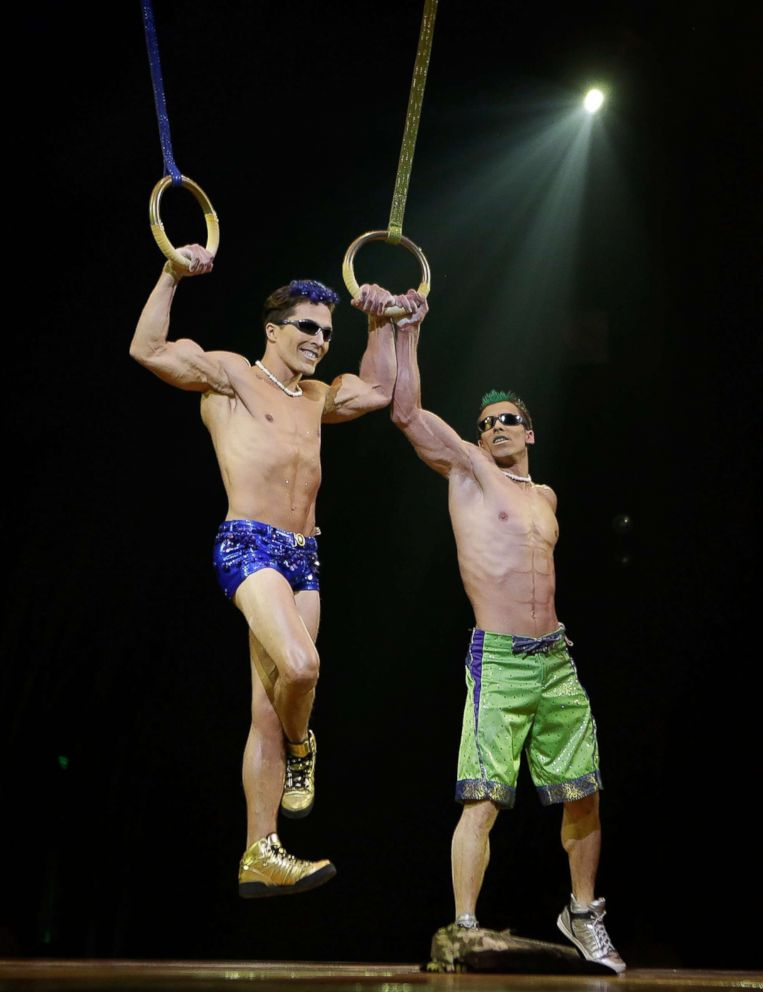 PHOTO: Yann Arnaud and GoelOuisse perform at the Cirque Du Soleils Totem dress rehearsal at Citi Field, March 13, 2013 in New York City.