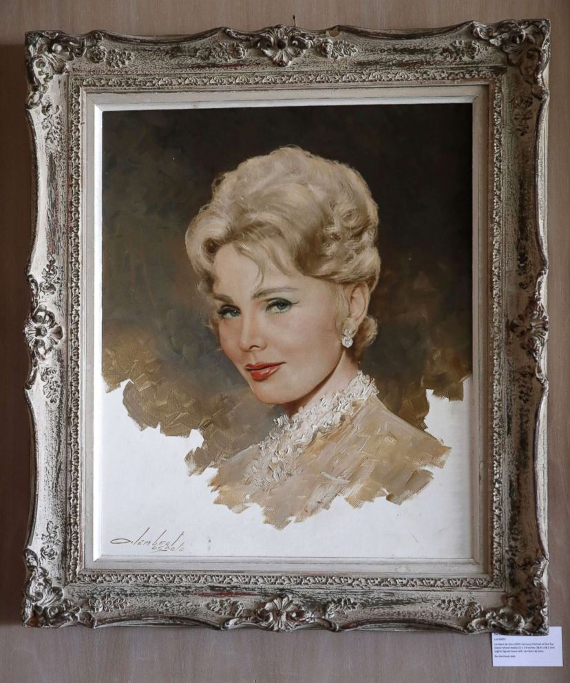 PHOTO: A Lembert de Soto portrait of Zsa Zsa Gabor is displayed at the Hello Dal-ling: The Estate of Zsa Zsa Gabor auction by Heritage Auctions at the late actress residence in Bel Air, Calif., April 12, 2018.