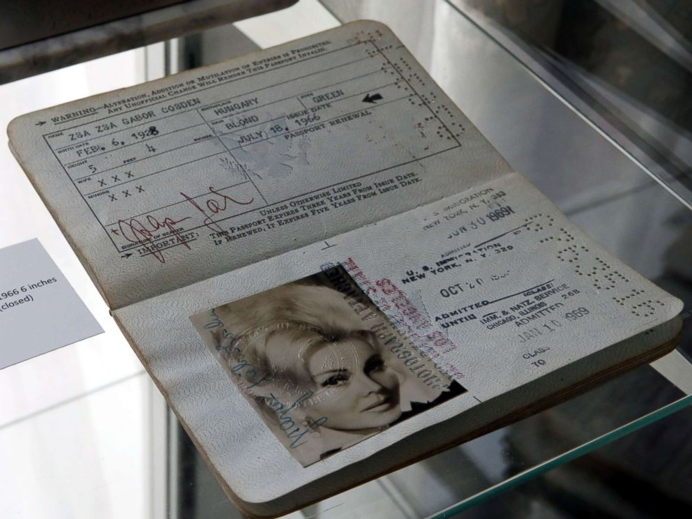 PHOTO: A circa 1966 passport of Zsa Zsa Gabor with the birthday changed to 1928 is displayed at the Hello Dal-ling: The Estate of Zsa Zsa Gabor auction by Heritage Auctions at the late actress residence in Bel Air, Calif., April 12, 2018.