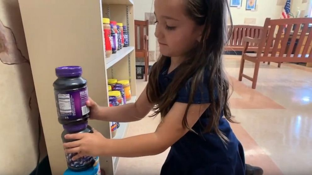 PHOTO: Eva Chapman, a student at Volusia County School District, began collecting jars of peanut butter and jelly after hearing a classmate didnt have enough to eat at home.