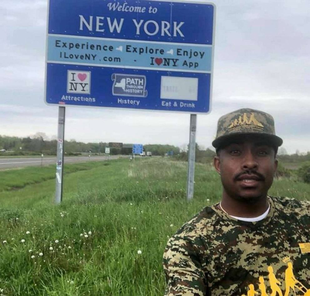 Photo: In this undated photograph, Rodney Smith Jr is shown in New York as he travels to all 50 states to cut free pitches for old soldiers.