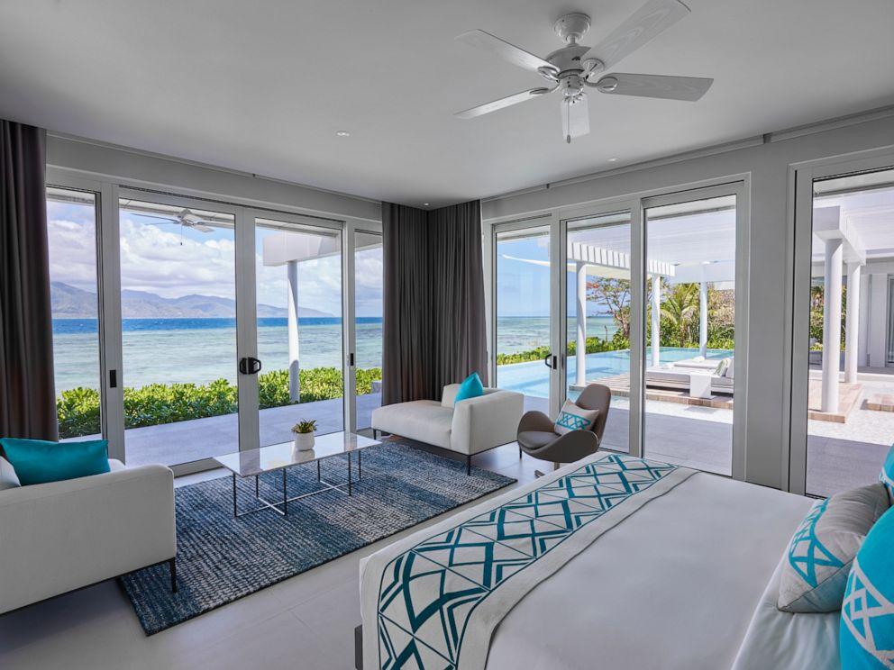 PHOTO: An interior view of a villa bedroom at Banwa Private Island.