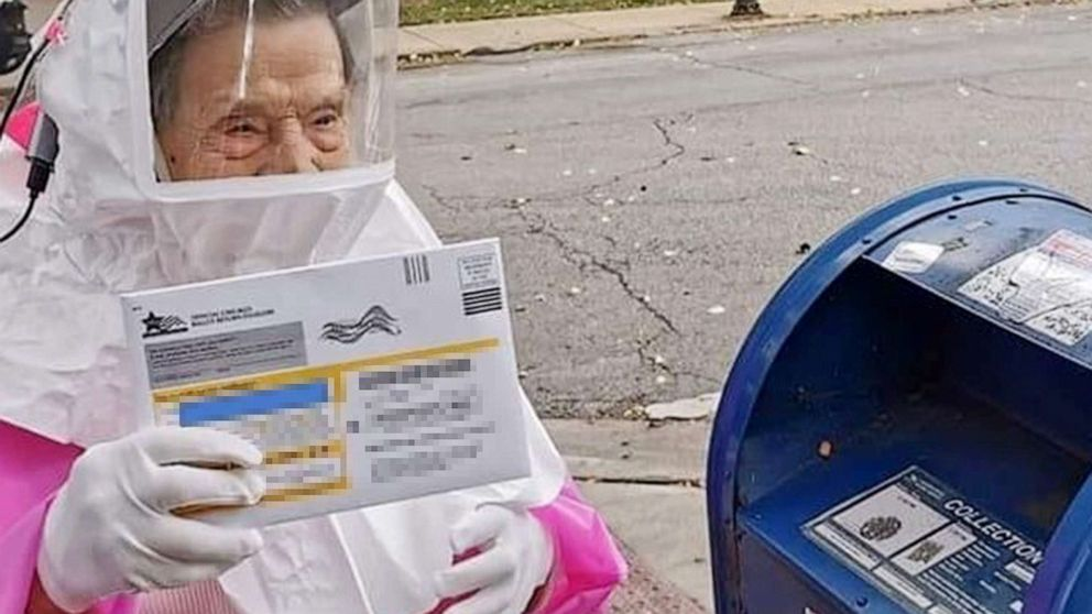 102-Year-Old Woman Who Cast Her Ballot in PPE Says To Would-Be Voters, 'Nobody Should Have an Excuse'