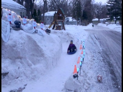 Dad Builds 12-Foot-High Ice Luge in