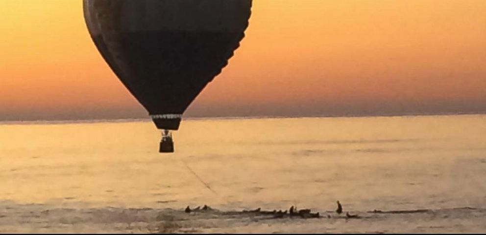 A hot air balloon landed in the Pacific Ocean off of Cardiff-by-the-Sea, Calif., Oct. 5, 2014.