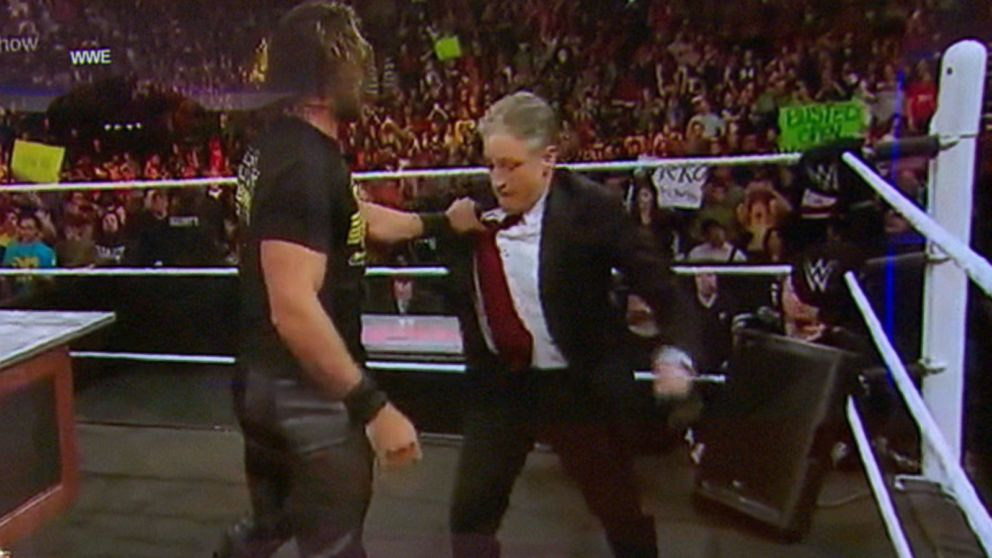 Jon Stewart Takes the 'Low' Road Against Seth Rollins on