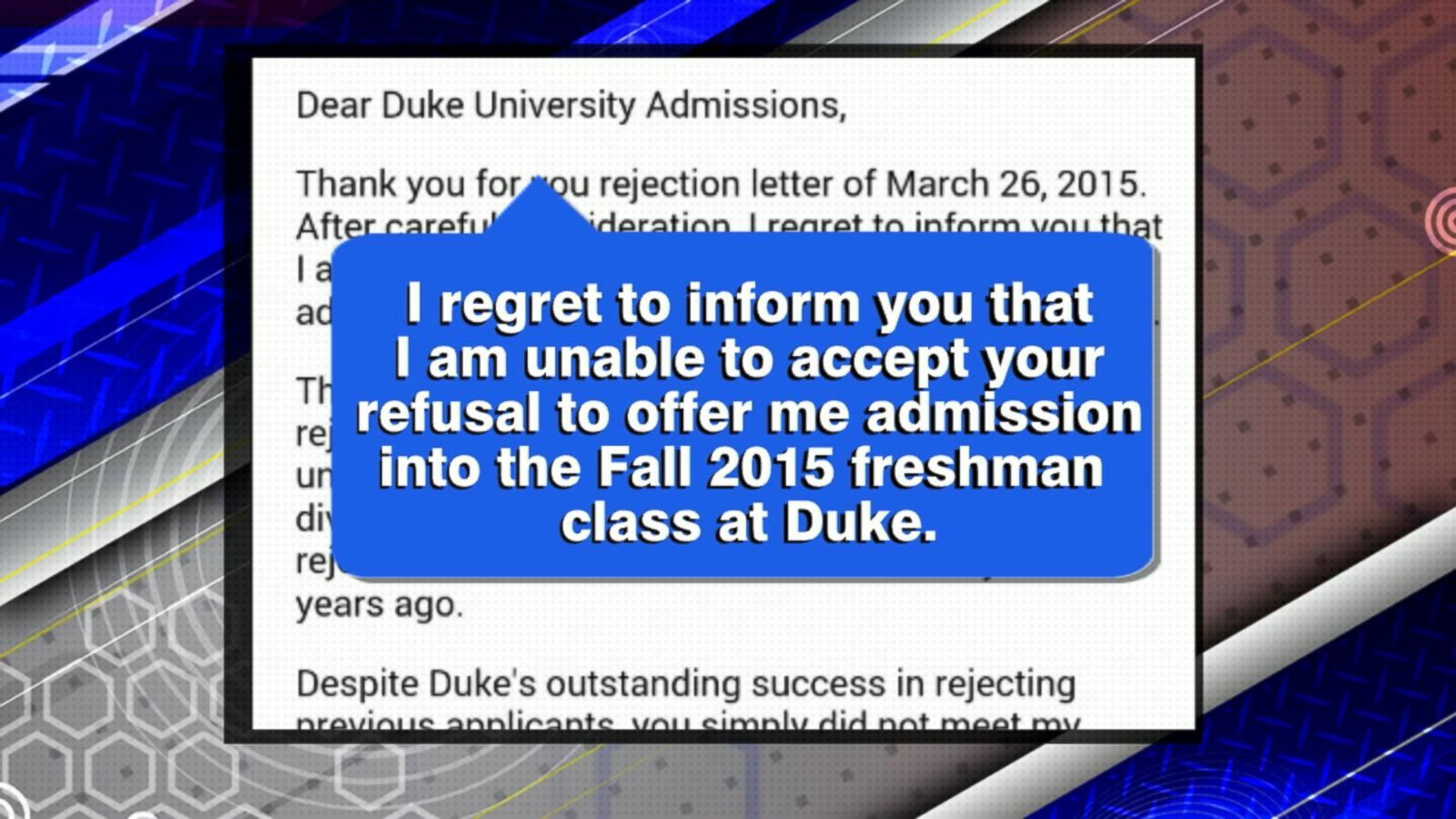 North Carolina Teen Writes Rejection Letter to Duke University's