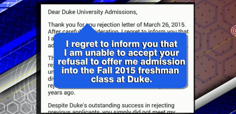 video hs student posts her rejection of college rejection letter