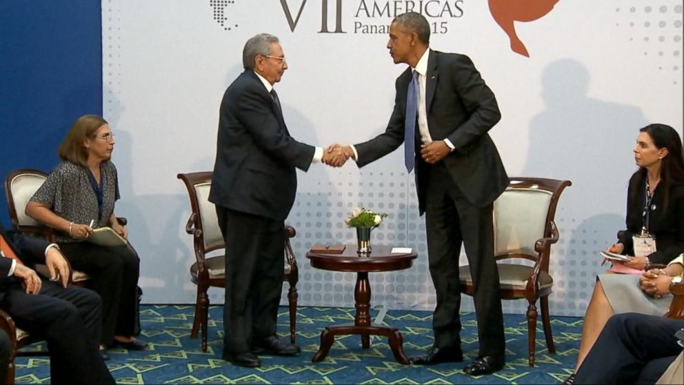 President Obama, Cuban President Raul Castro Officially Meet For Substantive Talks In Panama