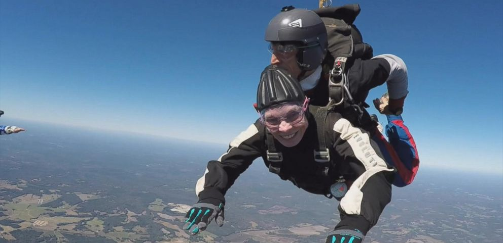 "VIDEO: Dodie Bruening, of Irmo, South Carolina, was ""flying high"" during her skydiving birthday celebration on Oct. 21."