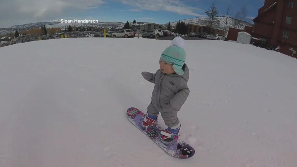 meet sloan a 14 month old snowboarder abc news