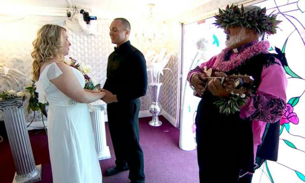 VIDEO: Hilarious Hawaiian Officiant Marries Lovebirds in Las Vegas Little White Chapel