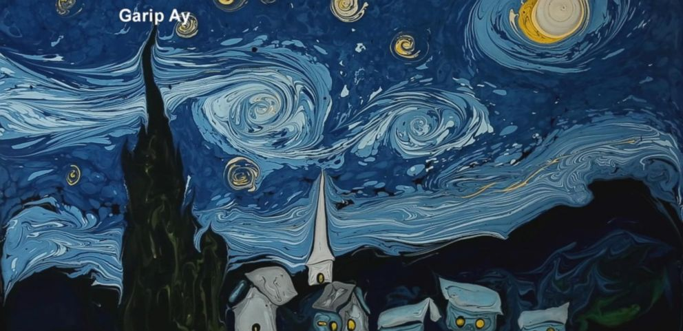 VIDEO: Artists Whimsically Turns Water into Van Goghs Starry Night