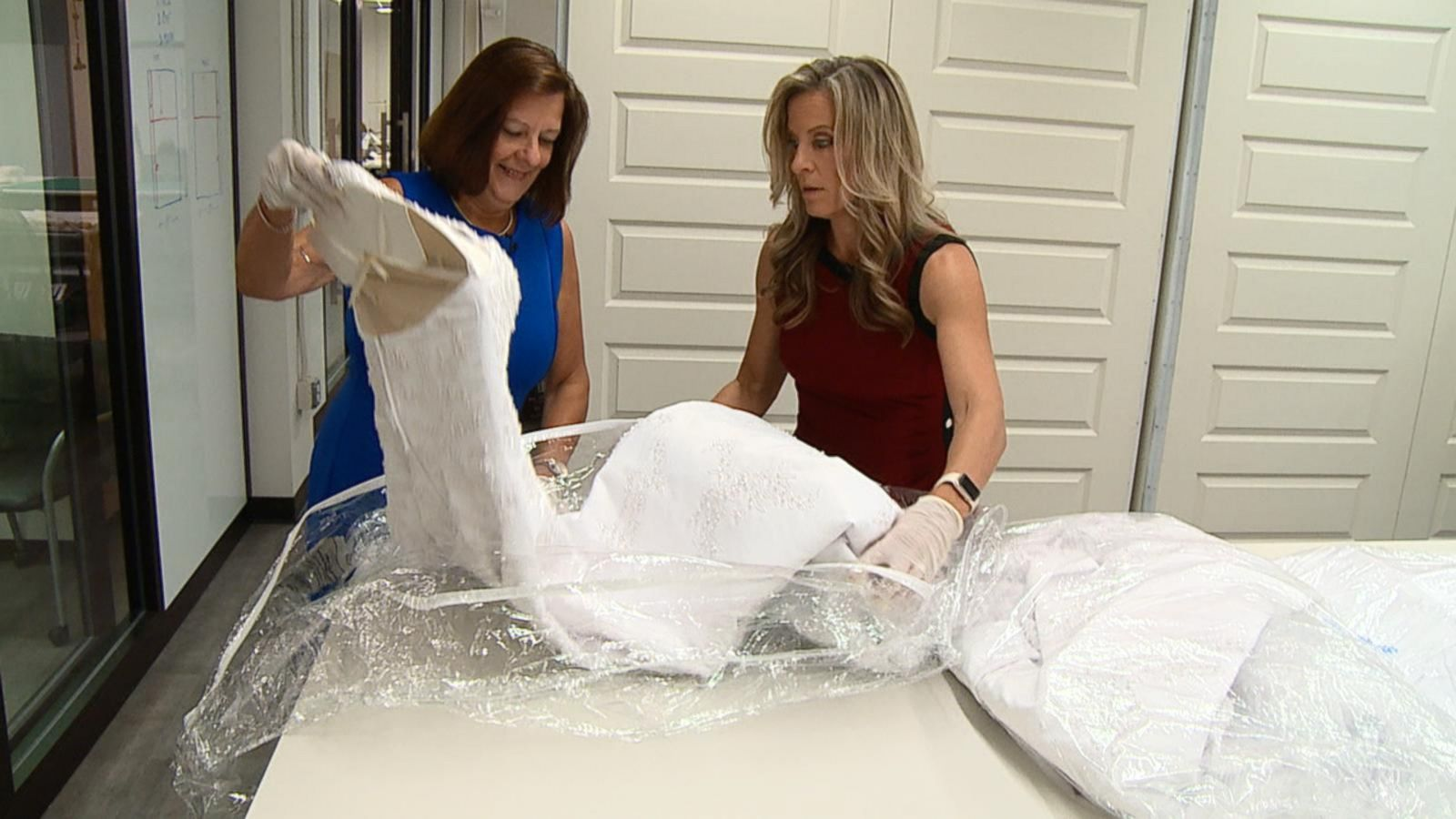 8446ce34f3d GMA  Compares Wedding Dress Cleaning Companies - ABC News