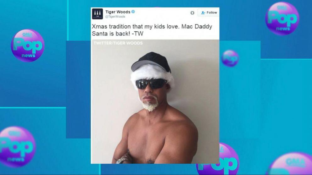 tiger woods shares  u0026 39 mac daddy santa u0026 39  shirtless pic video
