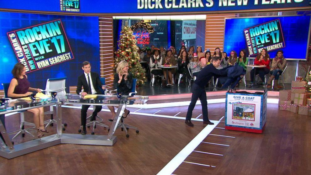Ryan Seacrest Donates a Coat to 'GMA''s Coat Drive