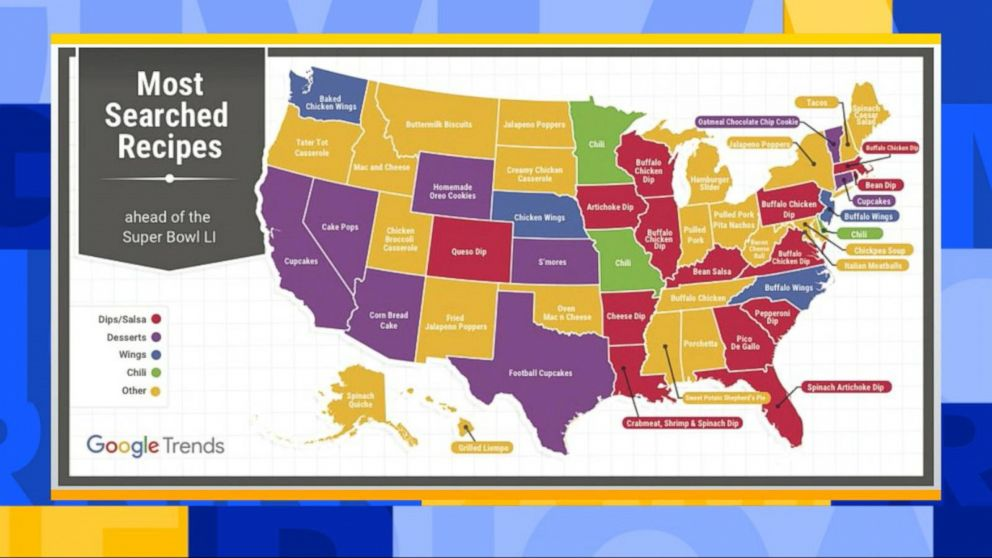 Top Super Bowl Sunday Dishes Most Searched Recipes In All 50 States - Us-map-50-states