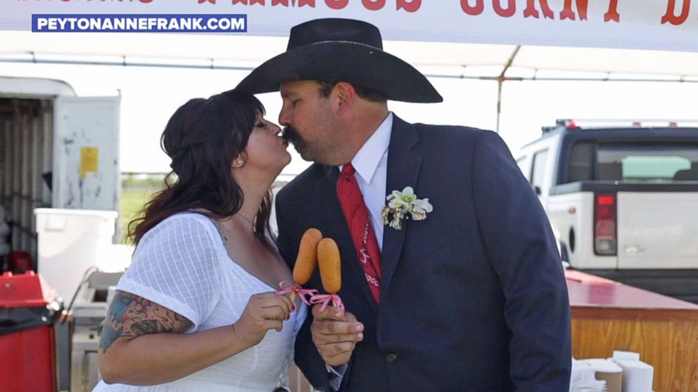 Couple throws an epic state-fair-themed wedding complete with Ferris wheel, corn dogs