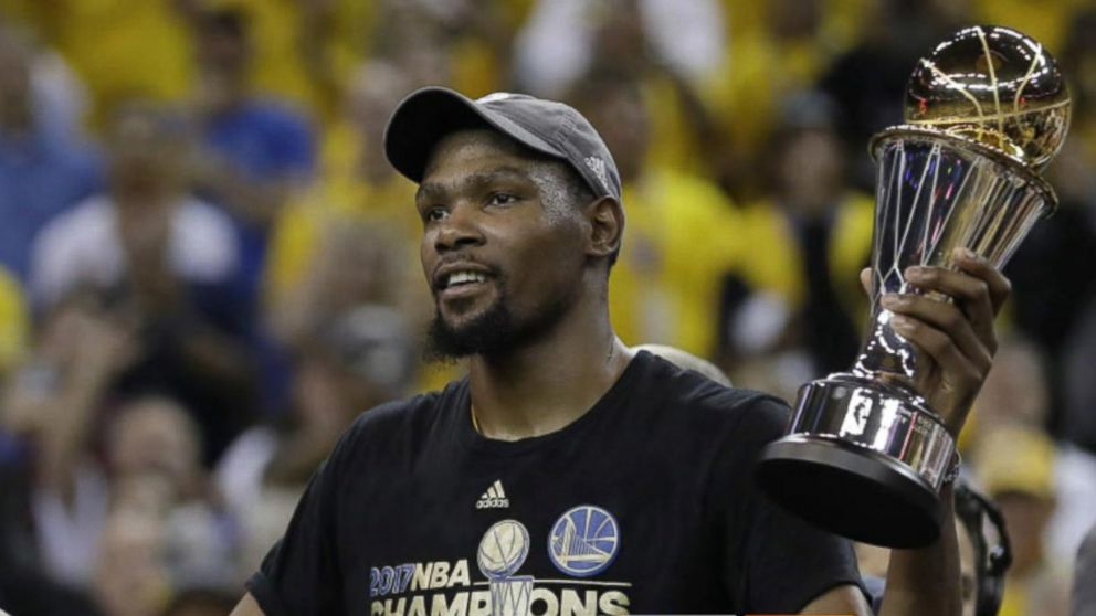 80df578a5859  GMA  Hot List  NBA Finals MVP Kevin Durant reacts to the Golden State  Warriors  big win