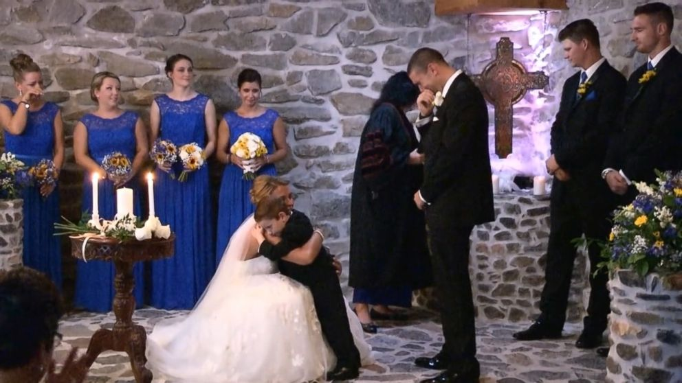 Wedding Ceremony Vow.Bride Recites Vows To Her Stepson And His Mother During Wedding