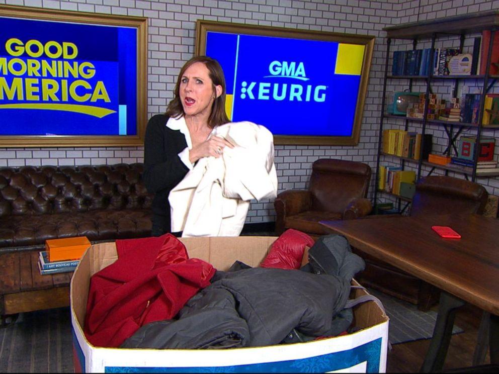 Molly Shannon donates a coat to the Burlington coat drive