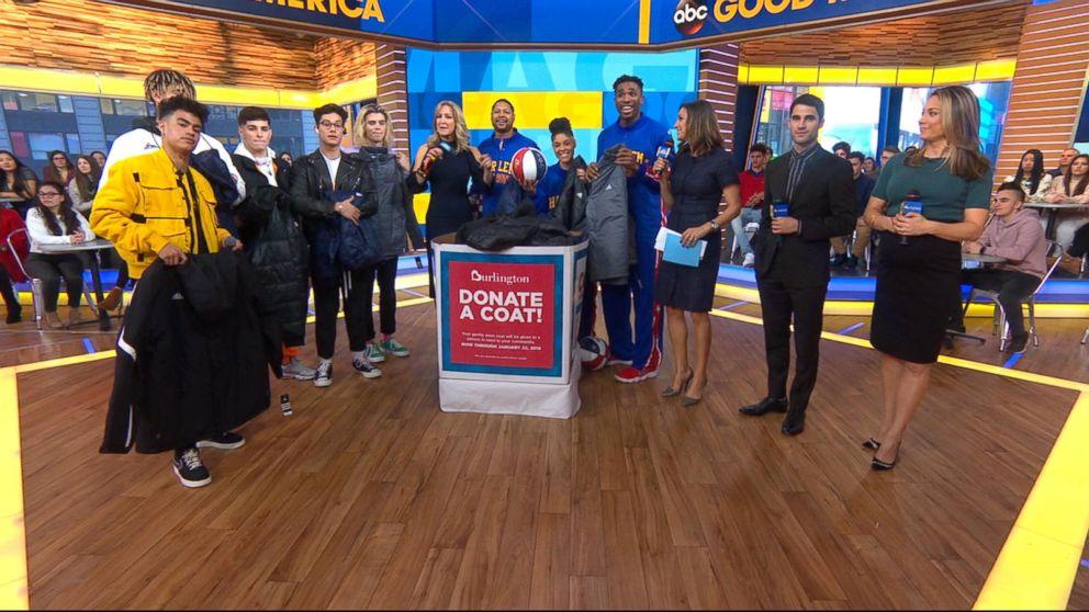 Harlem Globetrotters donate coats to the Burlington coat drive