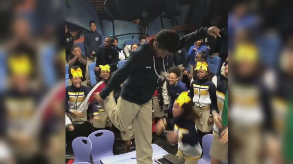VIDEO: Students erupt into dancing after finding out they're going to see 'Black Panther'