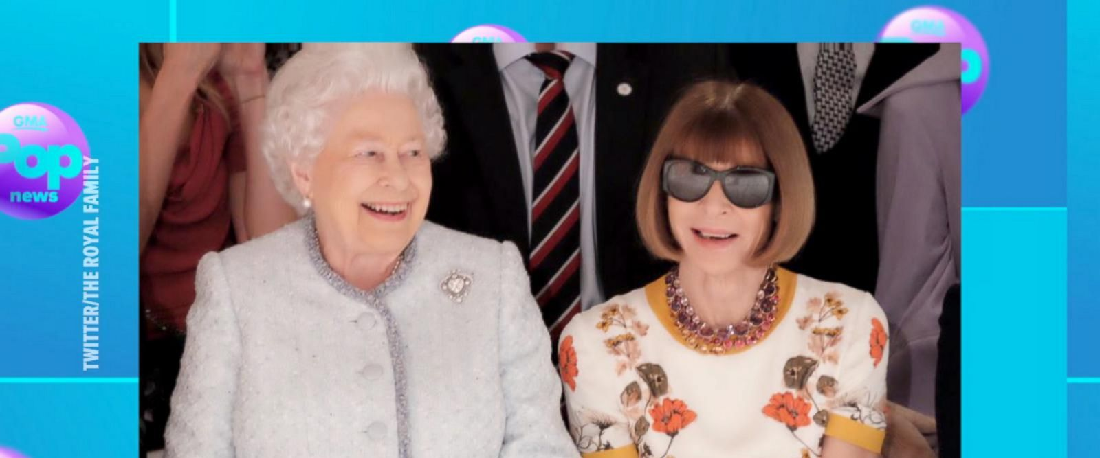 VIDEO: Queen Elizabeth II makes fashion week debut with Vogue's Anna Wintour