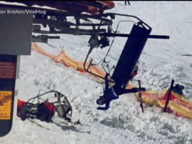 WATCH:  Skiers tossed from malfunctioning chairlift