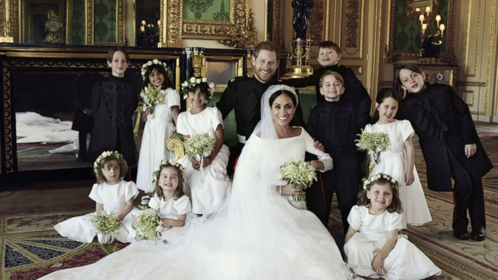 Prince Harry And Meghan Markle Wedding.Prince Harry And Meghan Markle Smile Next To Beaming Prince George