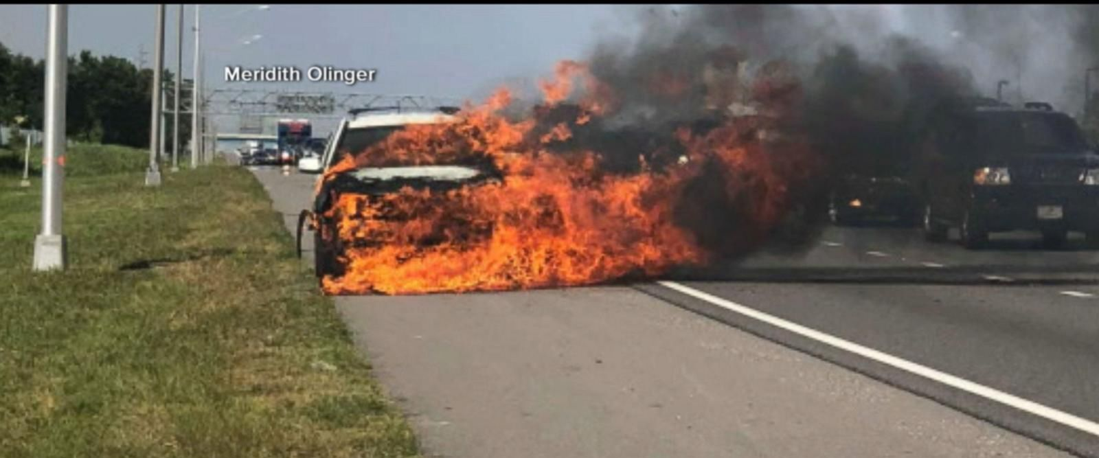 VIDEO: Hero saves highway driver from car on fire