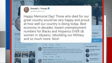 Trump's Memorial Day tweet sparks backlash Video Trump's Memorial Day tweet sparks backlash Video 180529 gma karl2 0710 hpMain 16x9 384