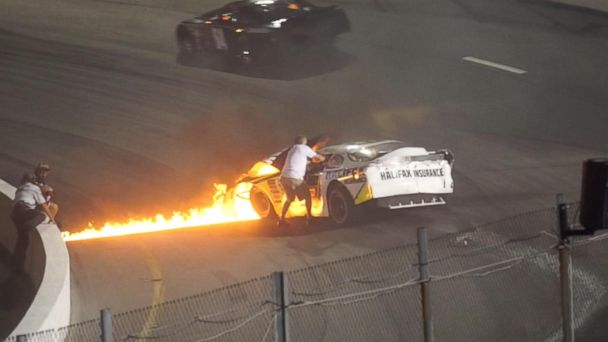 NASCAR driver's dad rescues him from fiery wreck