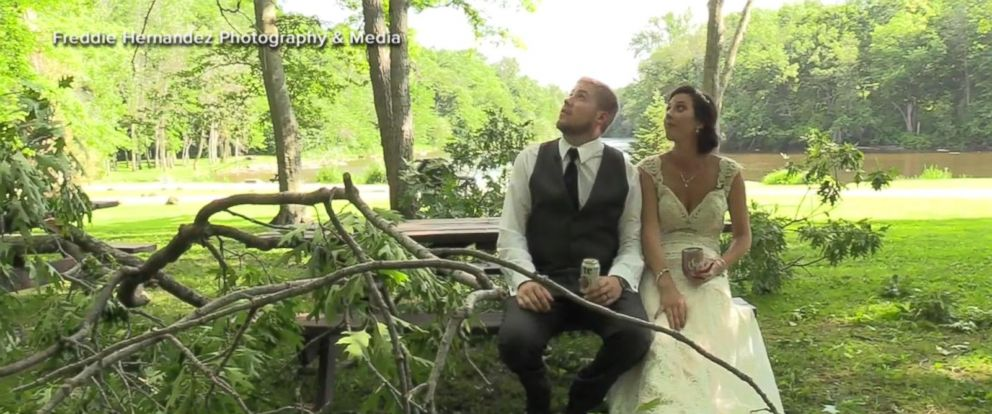 VIDEO: Couple describes terror of falling branch at wedding