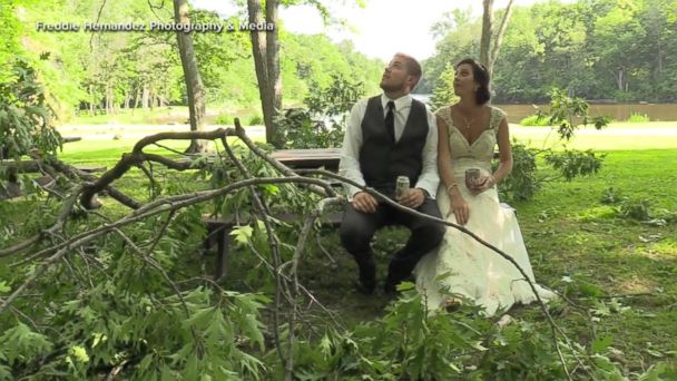Newlywed couple narrowly dodges falling tree branch moments after 'I do'