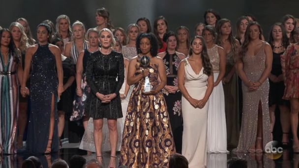 Gymnast abuse survivors stand in solidarity at the 2018 ESPYs