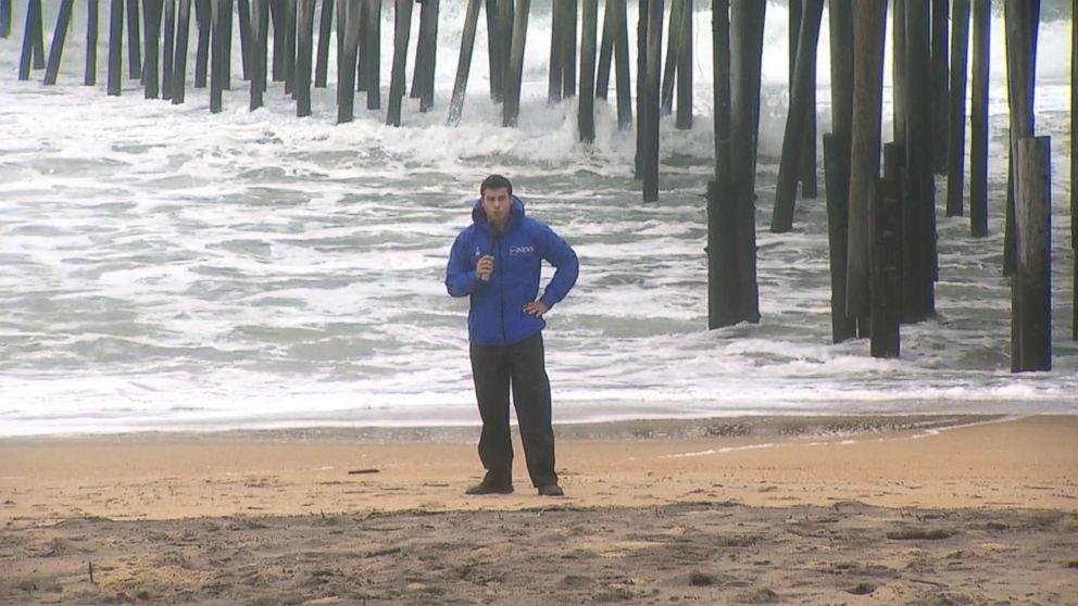 Hurricane wind gusts pick up at Kitty Hawk pier in North Carolina