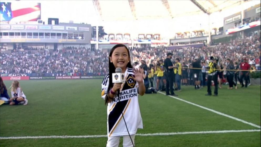 7-year-old slays national anthem at MLS match Video - ABC News